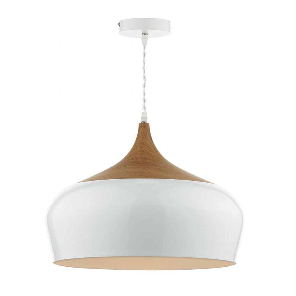 Gaucho 1 Light Pendant White Large (Class 2 Double Insulated) BXGAU8602-17